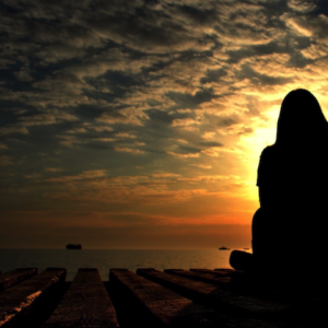 Selvkærlig eftertanke i solnedgangen